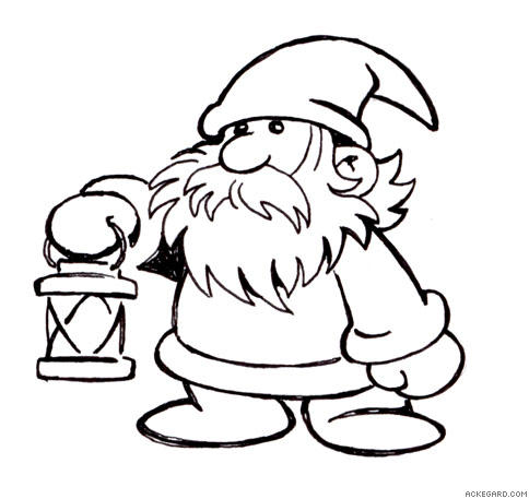 Christmas Gnome Drawing.Ackegard Gallery Lantern Gnome